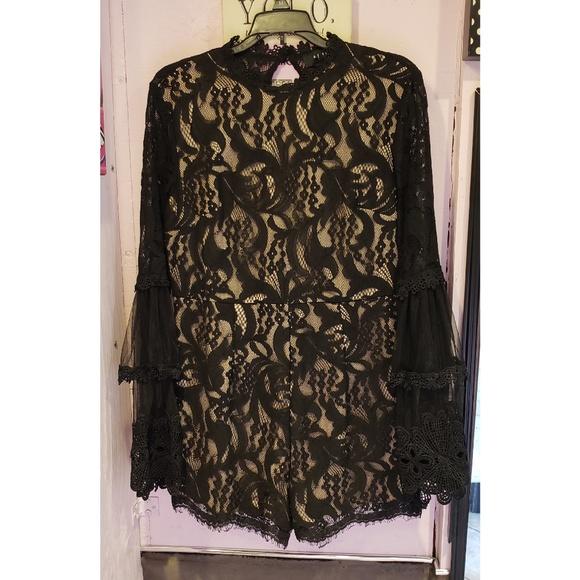 AKIRA Dresses & Skirts - AKIRA black lace and nude romper
